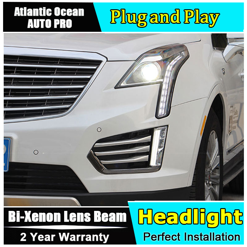 Auto part Style LED Head Lamp for Cadillac XT5 led headlight 2016-2018 for XT5 drl H7 hid Bi-Xenon Lens angel eye low beam hireno headlamp for cadillac xt5 2016 2018 headlight headlight assembly led drl angel lens double beam hid xenon 2pcs