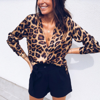 Vogue Ladies Leopard Print Long Sleeve V-Neck Top
