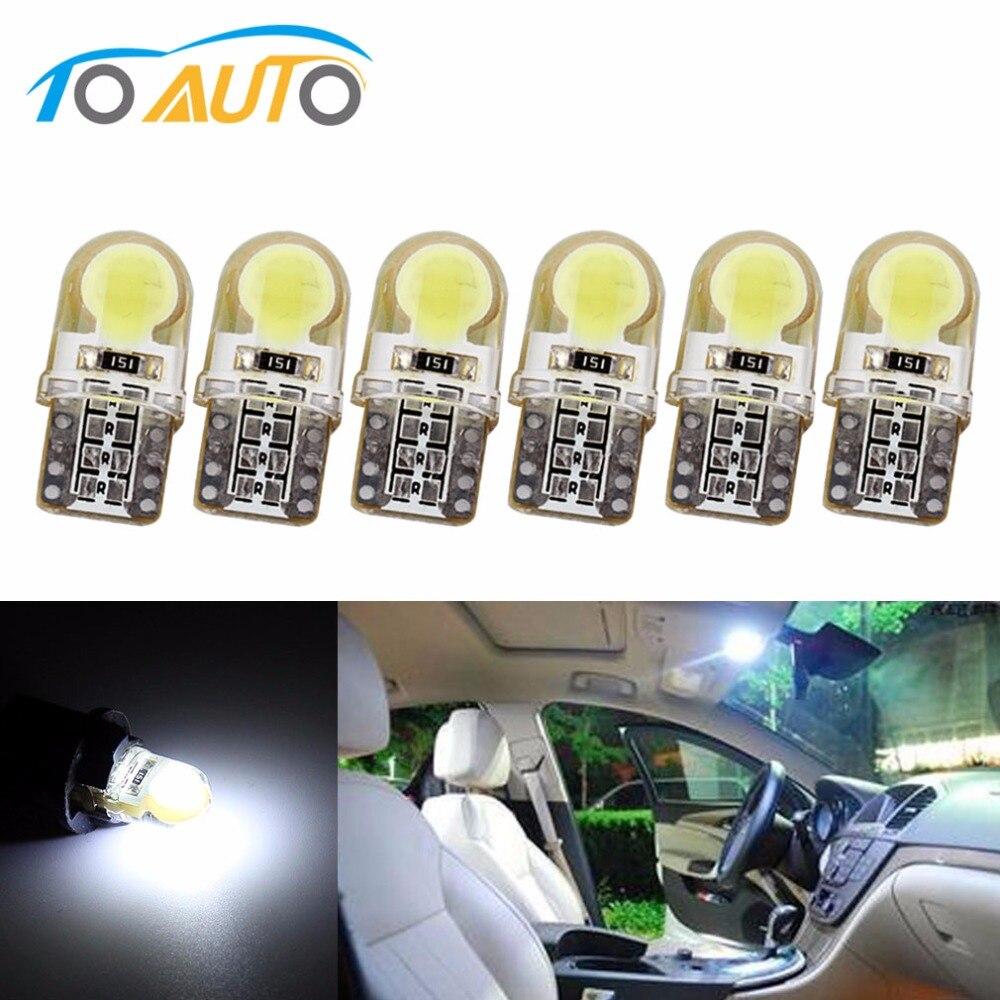 6 х Авто T10 светодиодный W5W светодиодный лампы 194 168 501 светодиодный светильник удара силиконовые автомобиль лицензии Подсветка приборной пан...