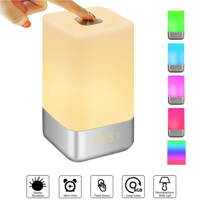 Wake Up Light RGB Touch Control Color Change Dimmable LED Night Light Smart Bedside Lamp LED Digital Alarm Clock Creative Gift