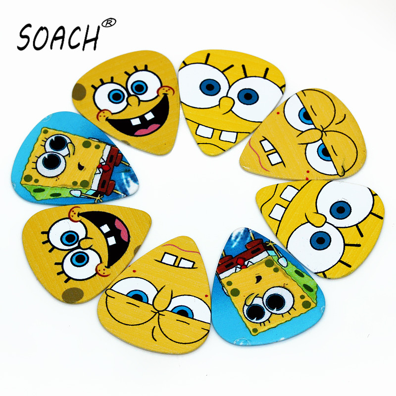 SOACH 10pcs 0.71mm  European and American cartoon characters high quality two side earrings pick DIY design guitar picks soach 16pcs pvc guitar picks pictures random black picks bag package holder bass guitar part