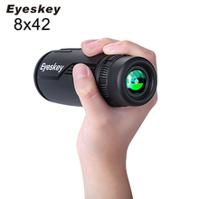 Eyeskey 8x42 Monocular Telescope Bak4 Prism Optics Monocular Waterproof Hunting Scopes for Camping Hand Focus Travel Binoculars 2016 new style joufou charm shadow series 12x50 monocular waterproof telescope wide angle for hunting optics camping travel