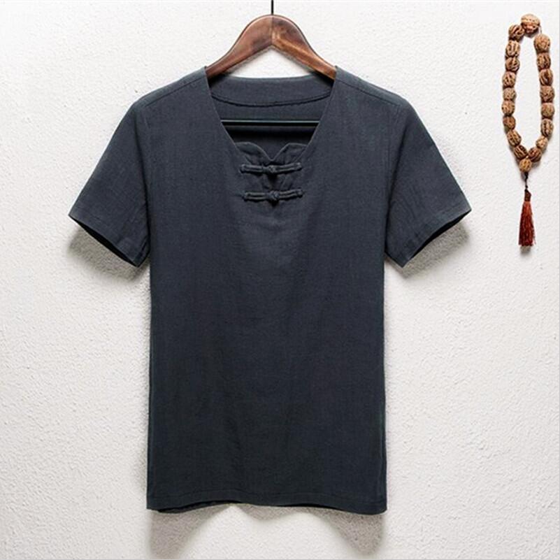 new styles 5e940 fe651 US $12.99 |2019 NEUE Chinesische Vintage Stehkragen Hemd Kurzarm Leinen  Hemd Plus Größe Kleidung in männer Casual bluse M 5XL 6XL 7XL-in Legere  Hemden ...