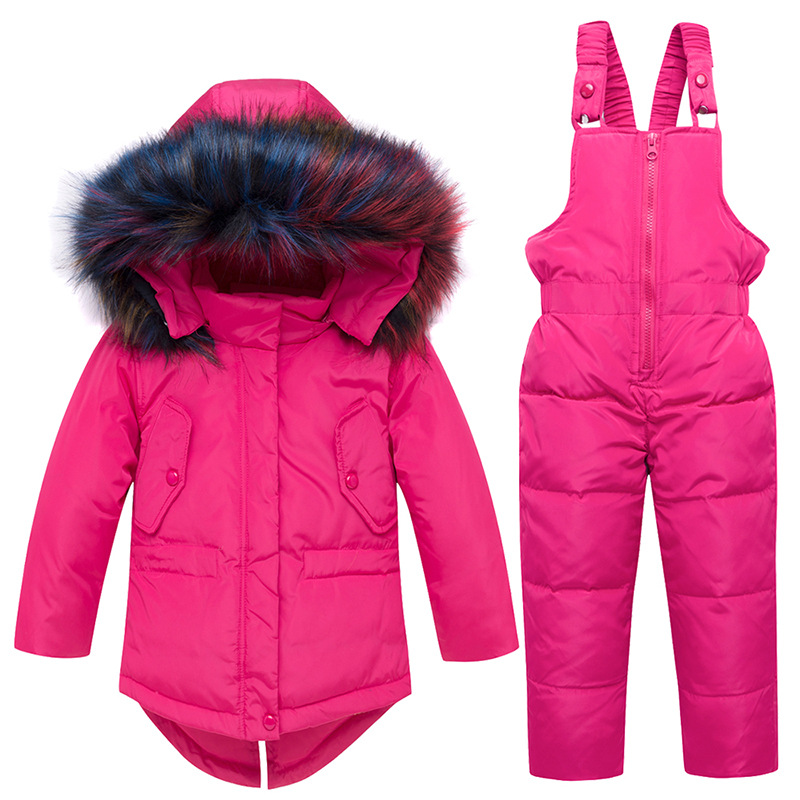 Winter Warm Baby Girl's Clothing Sets Girl Ski Suits Children's Outdoor Clothes Fur Duck Down Coats Jackets+trousers/Jumpsuit