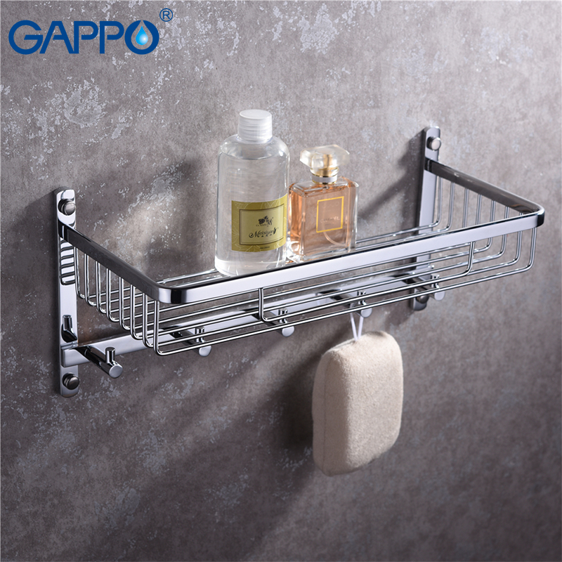 GAPPO prateleiras do banheiro banheiro prateleira fixado na parede do banho titulares acessórios de hardware rack de armazenamento de suspensão