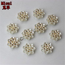 Micui 100PCS 12mm ABS Plastic Flower flatback Hole beads imitation pearl half beads for Clothing Accessories crafts ZZ200B(China)