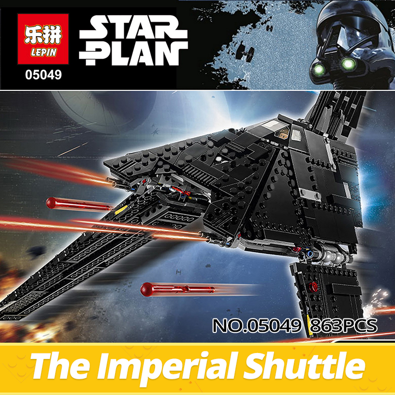 LEPIN STAR WARS 2016 05049 863Pcs the Emperor shuttle starship Model Building Kits Blocks Bricks kids Toy gift Compatible 75156 lepin 16014 1230pcs space shuttle expedition model building kits set blocks bricks compatible with lego gift kid children toy