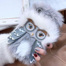 Funny 3D Plush Fur Owl Furry Soft TPU Silicone Phone Cases for iPhone XS Max XR X 10 7 8 6s Plus Winter Warm Fluffy Cover Girly