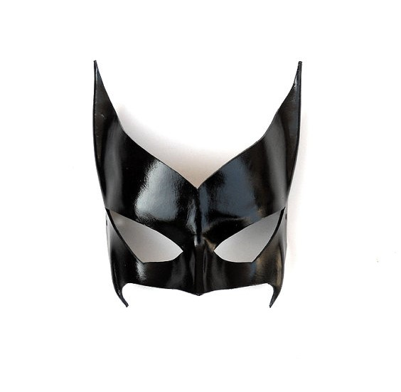 Movie props handmade cowhide batwoman bats woman mask cosplay dress up cowhide mask black half face mask Halloween costume ball
