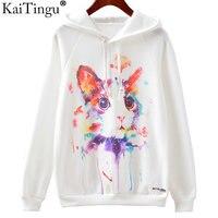 KaiTingu 2016 Fashion Autumn Winter Sweatshirt Harajuku Cat Print Women Hoodies Casual Hooded White Tracksuit Jumper