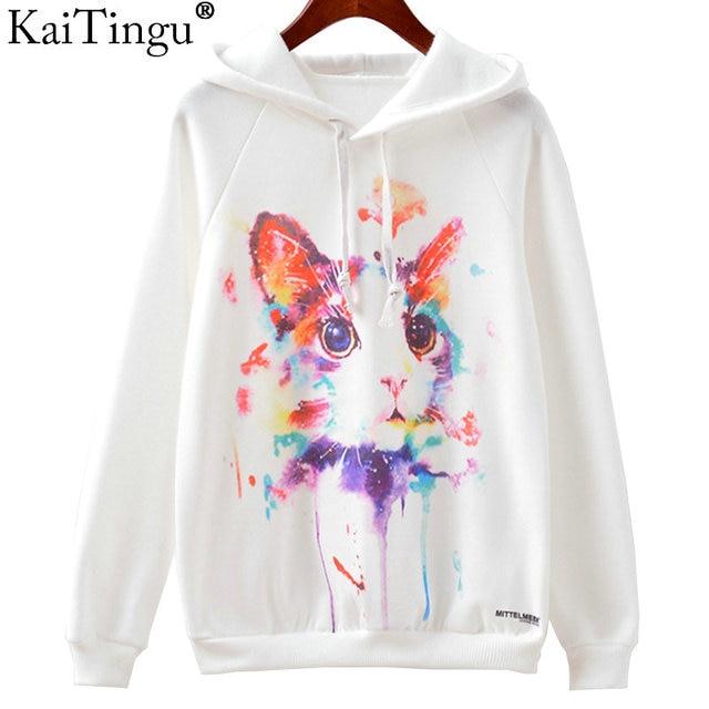 KaiTingu 2016 Fashion Autumn Winter Sweatshirt Harajuku Cat Print Women Hoodies Casual Hooded White Tracksuit Jumper Pullover