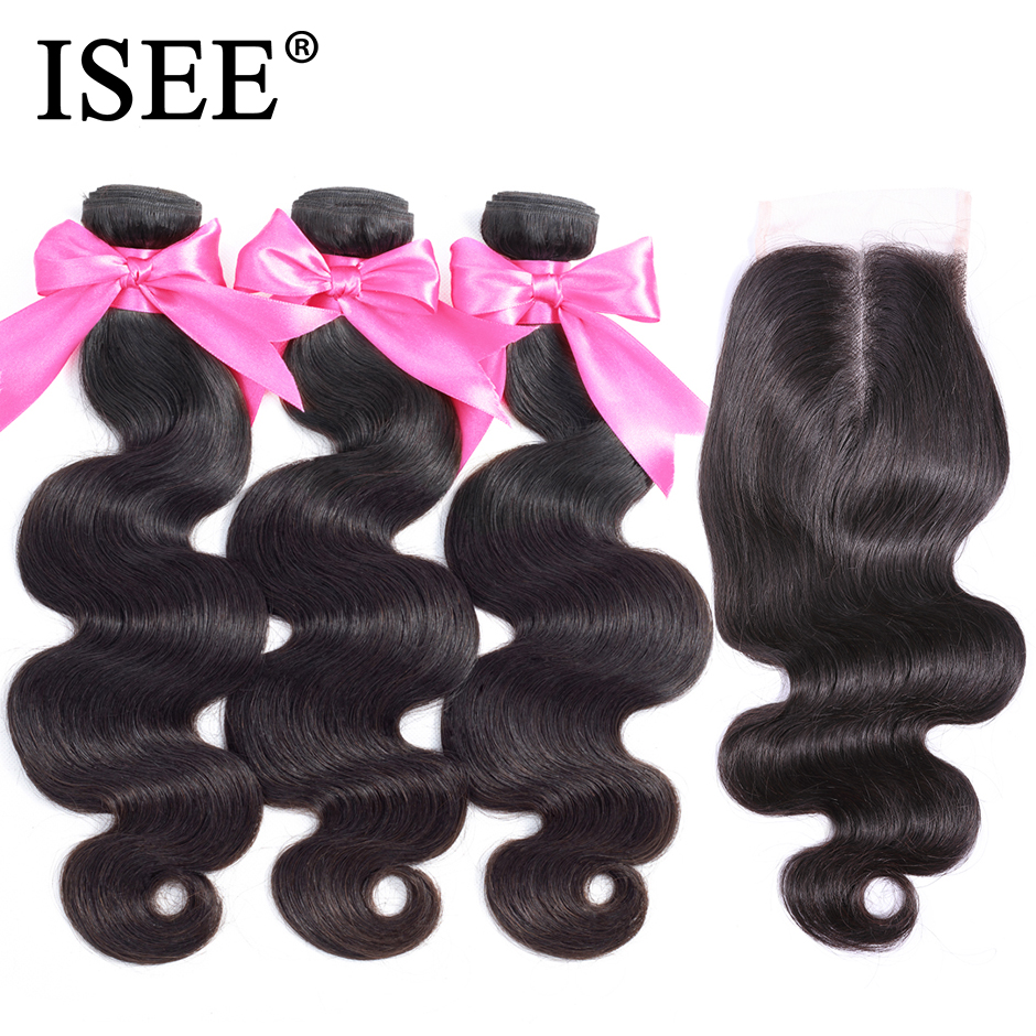 Body Wave Human Hair Bundles With Closure ISEE HAIR Body Wave Bundles With Closure Brazilian Hair Weave Bundles With Closure-in 3/4 Bundles with Closure from Hair Extensions & Wigs