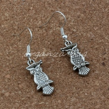 Dr. Owl Earrings Silver Fish Ear Hook 3pairs/lot Antique Chandelier Jewelry 9.5x38mm A-237e