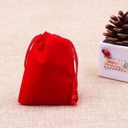 15x20 cm couleur rouge velours bijoux cadeau sacs bonbons pochettes de mariage faveur cadeau sac Logo personnalisé imprimé 50 pcs/lot en gros