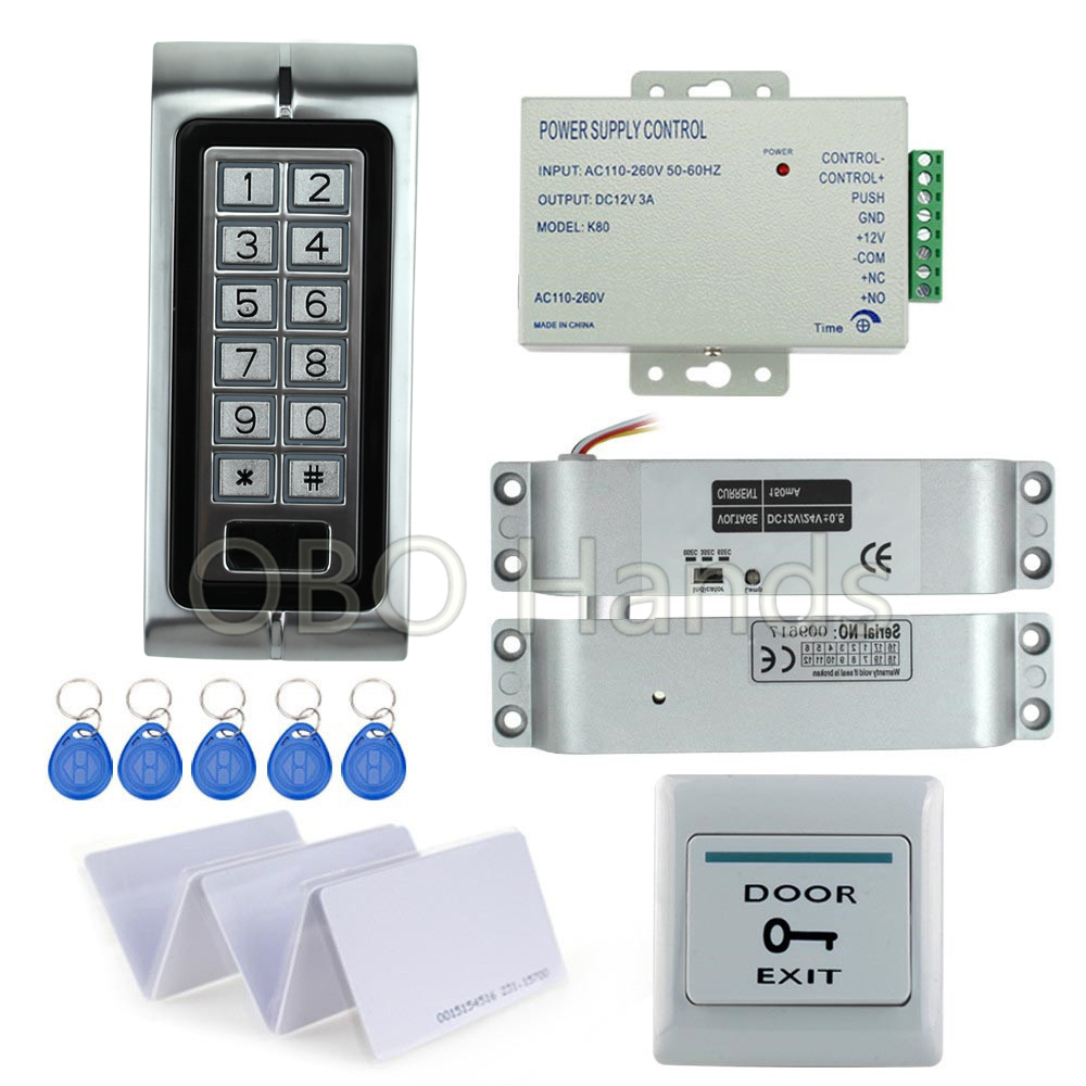 Waterproof RFID access control security system kit digital keypad+12V power supply+electric drop bolt lock+10pcs ID key cards digital electric best rfid hotel electronic door lock for flat apartment