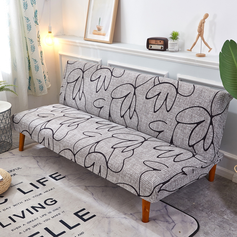 Grey And Black Sofa Bed Cover Folding Ling Chair Seat Slipcovers Stretch Covers Couch Protector Elastic Futon Bench