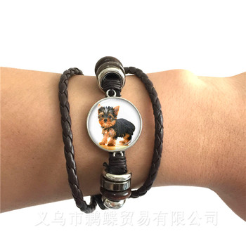 Agile Dog Bracelet French Bulldog Cocker Spaniel Look Like Cute Cuddly Black/Brown Leather Bangle Glass Dome Men Women Jewelry image