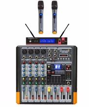 STARAUDIO Professional 4 Channel Powered Mixing Console PA DJ Audio Amplifier Mixer with 2CH UHF Handheld Microphone  SMX-4000B