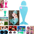 Retail Crochet Baby Photography Prop Costume Girl Mermaid Hat & Cocoon Set Handmade Baby Girl Outfits Clothes 1set  MZS-14025