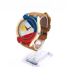 БОБО ПТИЦА Филиппины флаг мужская Бамбук Деревянные Часы с Браун Натуральной Кожи Ремешок Японский Кварцевый Повседневная Часы
