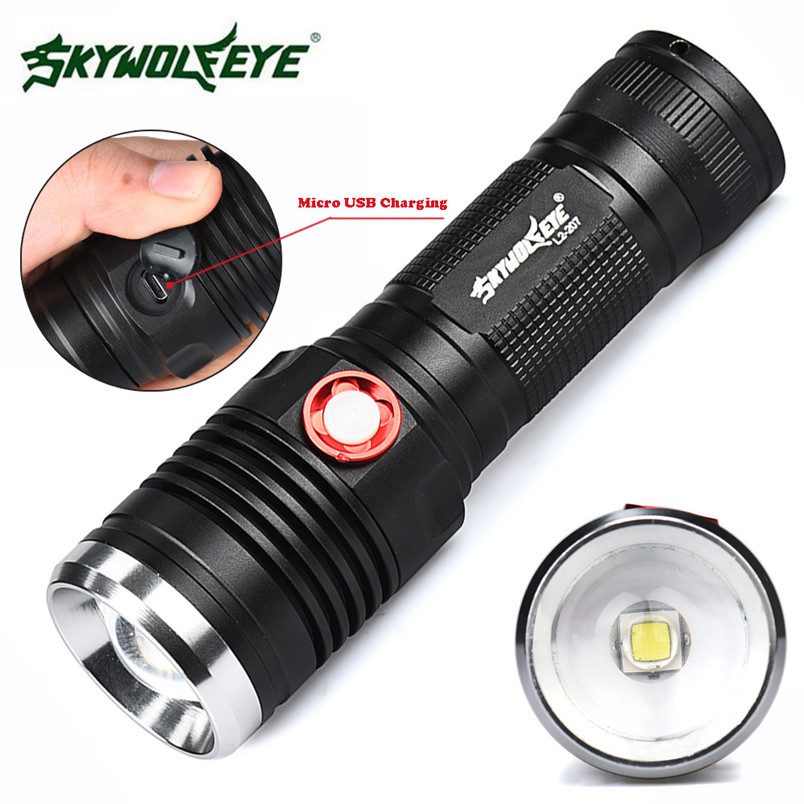 CREE XM-L2 U2 Zoomable 3 Mode 26650/18650 USB Rechargeable LED Flashlight Torch USB Cable Camping wholesales NOM31 950lm 3 mode white bicycle headlamp w cree xm l t6 black silver 2 x 18650