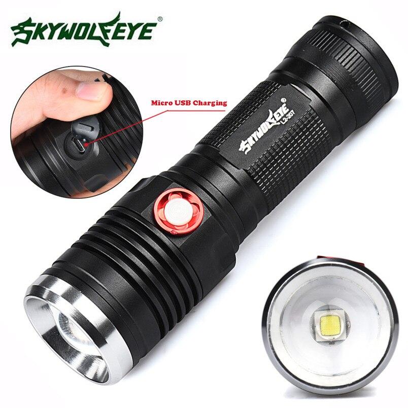 CREE XM-L2 U2 Zoomable 3 Modus 26650/18650 USB Wiederaufladbare LED Taschenlampe Usb-kabel Camping großhandel NOM31