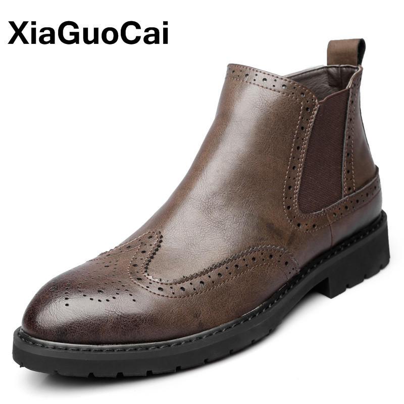 Winter Men Ankle Boots Cow Leather Retro Chelsea Boots With Fur Round Toe Print Fashion High Top Brogue Men Shoes For Autumn camo print round neck sports tank top for men