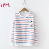 Cute Rabbit Pink T Shirts Women Japan Lovely Bunny Vintage Floral Embroidery Female Tops Colorful Striped O Neck Girl Pullover