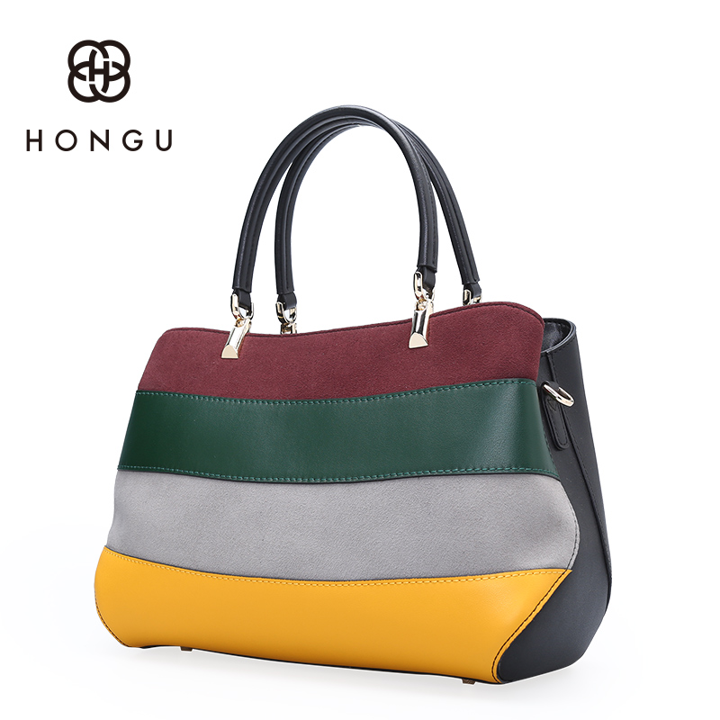 Hongu Genuine Leather Hit Color Tote Luxury Handbags Women Bag Designer Women Famous Brand Lady Shoulder Louis Bags Bolsos mujer laorentou luxury genuine leather women handbags crossbody bags for women brand designer tote bag new trend color lady bag n56