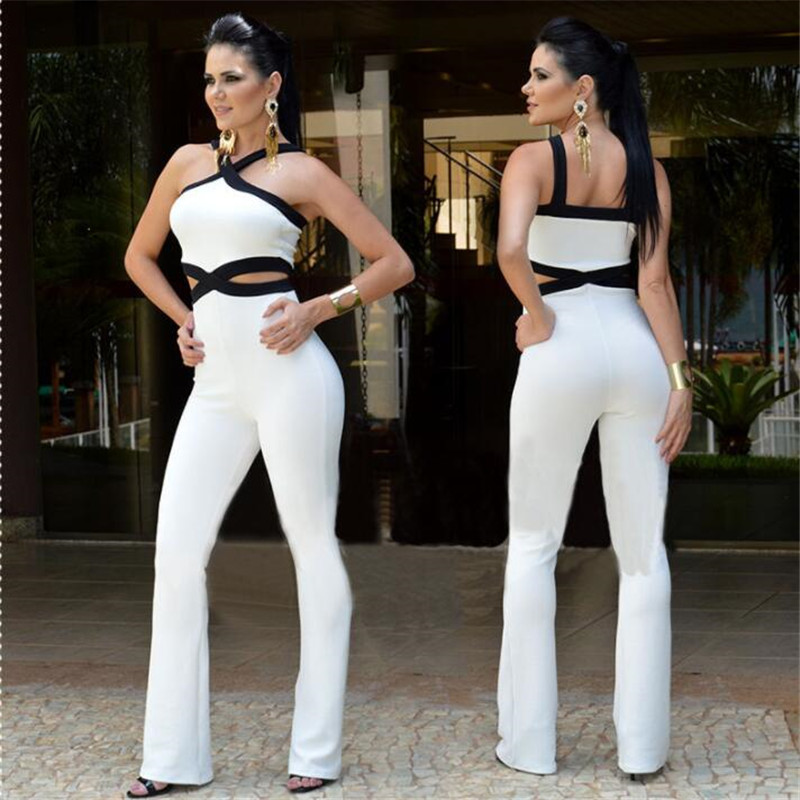 Women Strap Backless Long Jumpsuits 2019 Fashion Sexy Off Shoulder Playsuit Summer Hollow Out Beach Loose Jumpsuit Romper