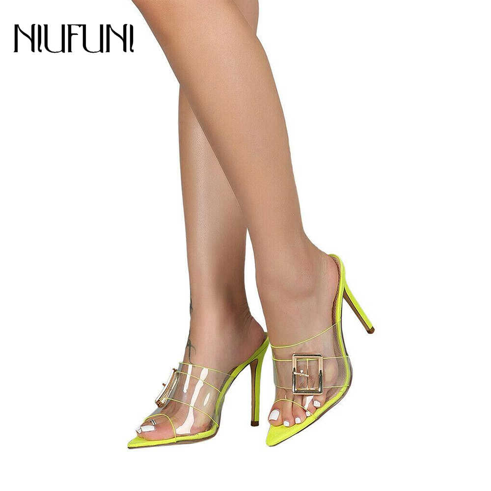 Fashion Transparent Pointed Toe PVC High Heels Sandals Slides Women Metal Button Thin Heeled Peep Open Toe Slippers Summer Shoes
