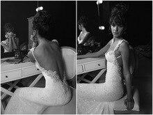 free shipping sexy backless romantic 2017 casamento beading vestido de noiva vintage mermaid lace wedding dress Bridal Gown