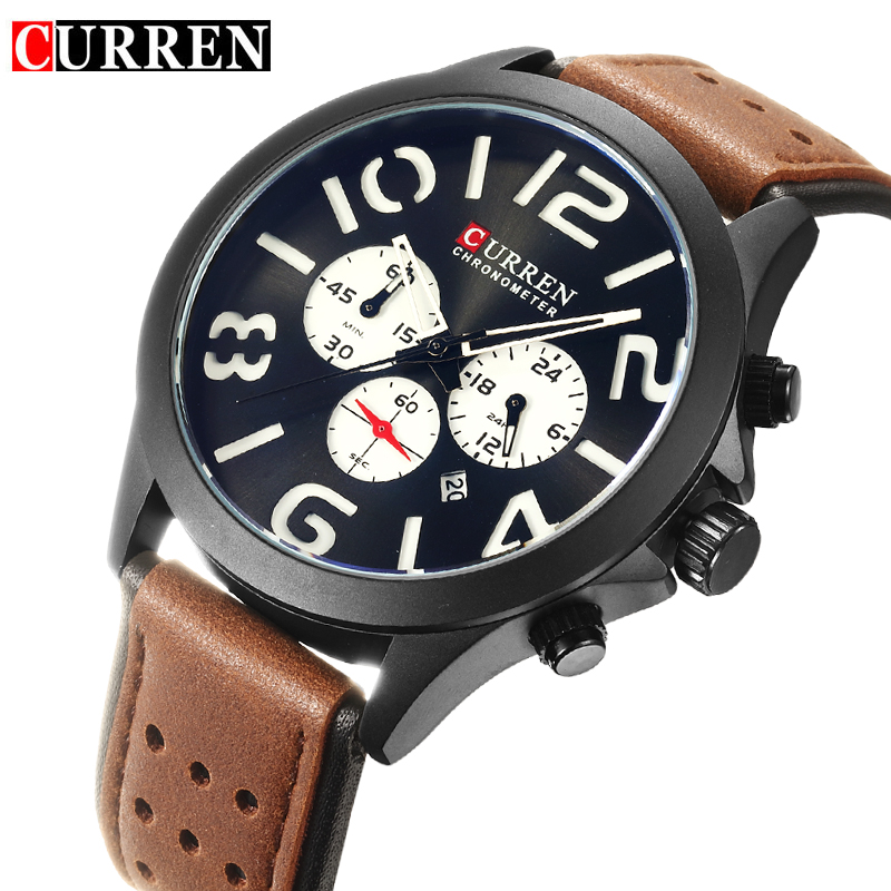 CURREN Fashion Chronograph Calendar Display Black Sport Racing Design White Dial Military Mens Quartz Watches Top Brand Luxury