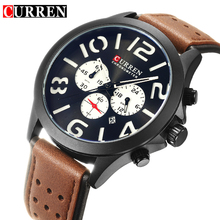 CURREN Fashion Chronograph Calendar Display Black Sport Racing Design White Dial Military Mens Quartz Watches Top Brand Luxury
