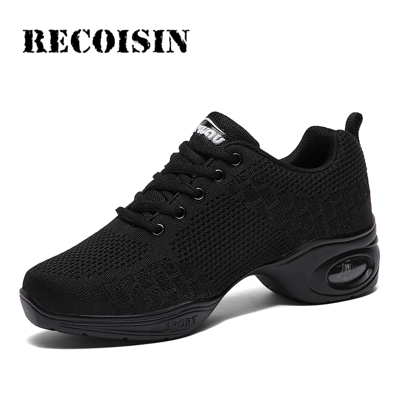 RECOISIN Sneakers Dance-Shoes Outsole Sports Women Modern Breath Soft for Feature