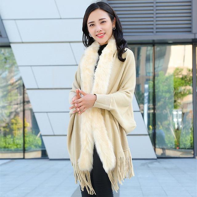 Faux Fur Collar Shawl Cardigan Tassel Winter Warm Coat 2