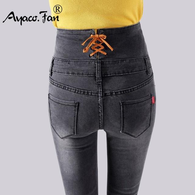 Printemps Jeans 2018 Denim Crayon Pantalon De Mode Femmes Simple Dame Taille  Haute Skinny Stretch Gris b8ae228194c