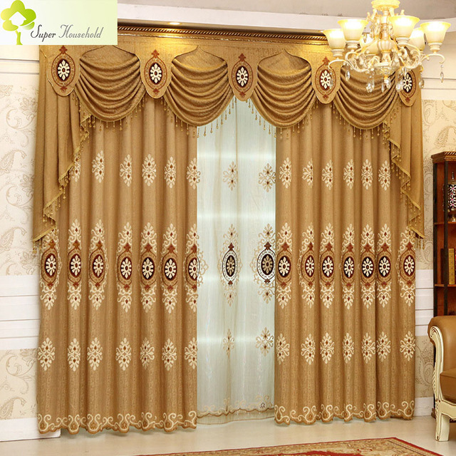 Modern Embroidered Curtains For Living Room European Curtains For Bedroom  Luxury Window Sheer Curtain Drapes Velvet