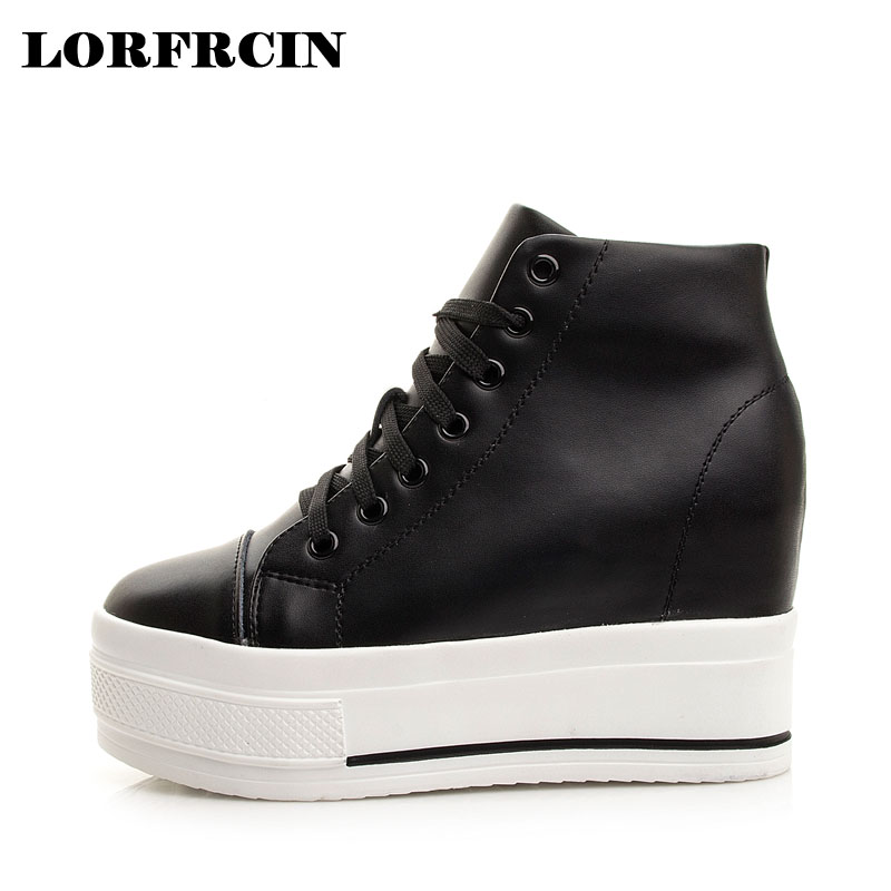 LORFRCIN Women Casual Platform Shoes Genuine Leather High Heels Shoes Woman Wedges Women Shoes Lace-up Increased Internal Pumps bling patent leather oxfords 2017 wedges gold silver platform shoes woman casual creepers pink high heels high quality hds59