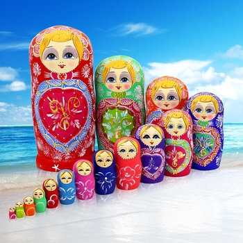 15pcs Wooden Russian Nesting Dolls Braid Cartoon Traditional Matryoshka Dolls for Baby Kids Toy&Gift Home Articles Decoration