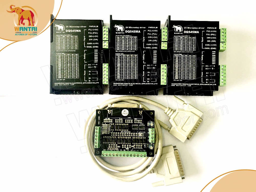 3 Axis Wantai Stepper Motor Driver DQ545MA for 4.5A/50V/128Microstep , Higher Perfromance, super quality to Nema 23 motors brand new design 4 axis 2 phases stepper motor driver 4a128 microstep lv8727 dd8727t4v1