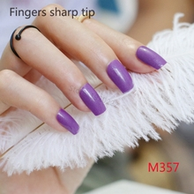 2017 24pcs Explosion models fashion Long section Square head candy false nails decoration powder Deep Purple M 357