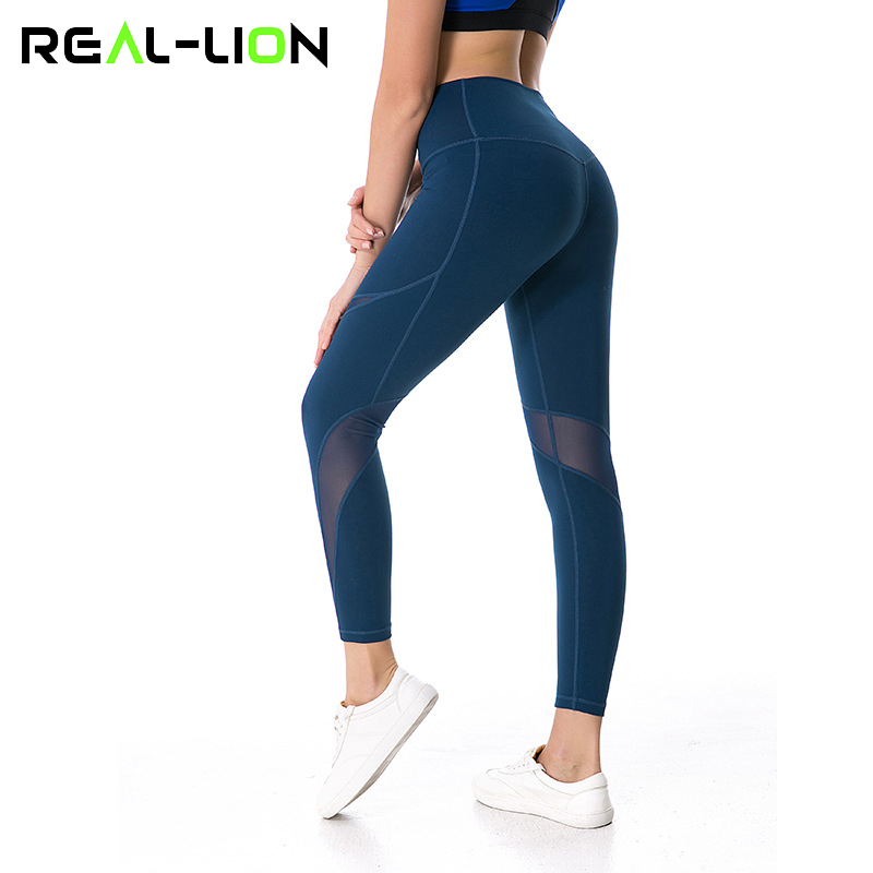 Reallion Mesh Patchwork Fitness Sport Leggings Women Yoga Leggins High Waist Running Pants Elastic Quick Dry Sportswear Trousers