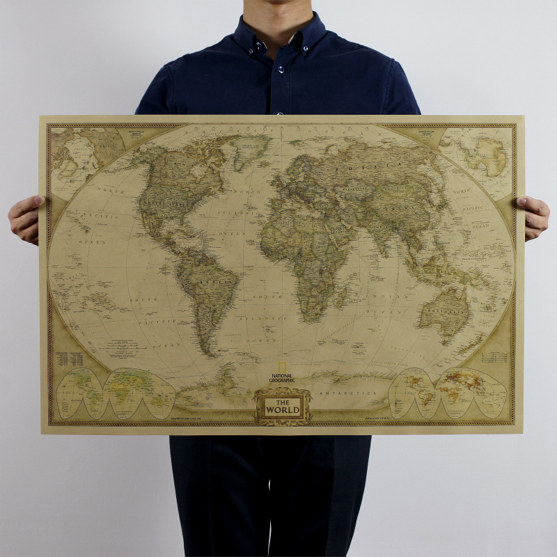 Vintage World Map Travel Home Decoration Detailed Antique Poster Wall Chart Retro Paper Matte Kraft Paper