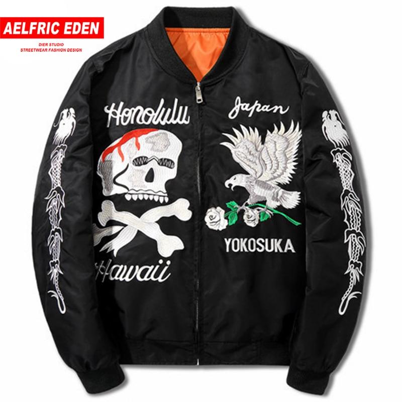 Aelfric Eden Dropshipping Hommes Vestes Kanye West Bomber Veste 2018 Nouvelle Broderie Crânes Aigle Printemps Noir Veste Manteau LQ02