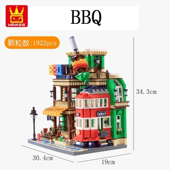 Wange Blocks Architecture BBQ Restaurant Building Bricks Beautiful House Brinquedos Educational Toys for Children Gifts 6313