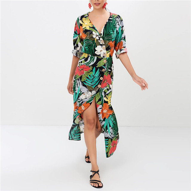 961afac3e54a0 US $9.98 40% OFF|Aliexpress.com : Buy New Chiffon Boho Dress Women Long  Sleeve Floral Print Beach Dress Summer Sexy V Neck Party Sundresss Button  Robe ...