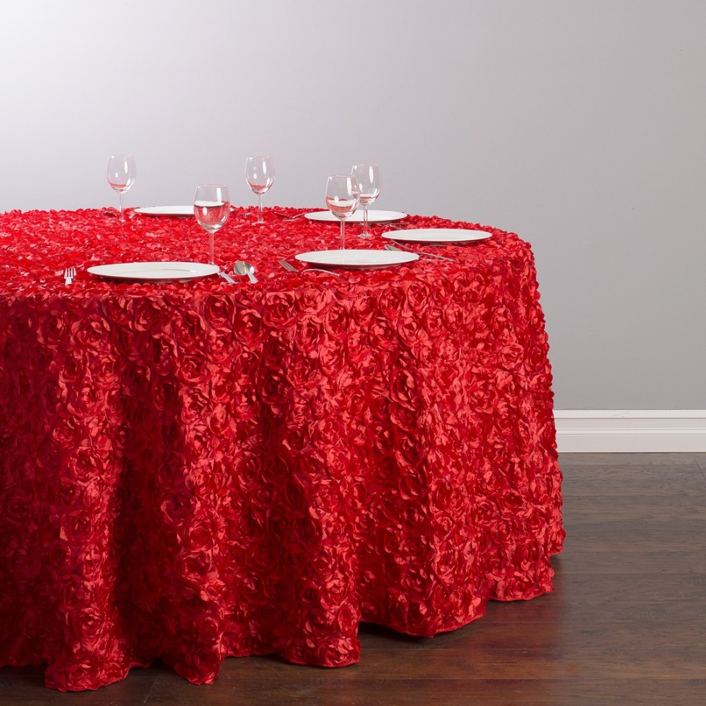 HK DHL Stain Feel Polyester 330cm Round Rosette Tablecloth Red Color For  Event Banquet, 20/Pack