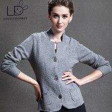 LOVELYDONKEY New real cashmere cardigan sweater pure cashmere sweater winter brand cardigan Free Shipping M416