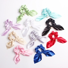Sweet Girl Elastic Large Intestine Hair Rope Cute Rabbit Ears Bowknot Retro Ponytail Holder Bands Scrunchies Accessories